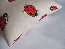 Úžitkový textil - Vankúšik - lienky - 10616148_