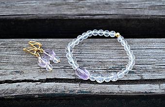 Sady šperkov - Ametrín sada náušnice a náramok Ag - 10618651_