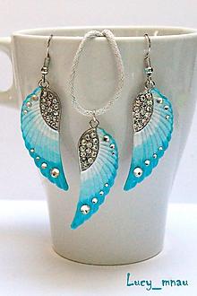 Sady šperkov - Anjelské krídla a náhrdelník-tyrkys :) - 10616413_
