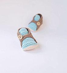 Topánočky - papučky s modrým jazykom - 10618043_