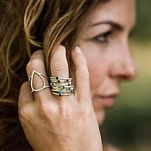 Prstene - Stříbrný prsten s topazy (S (54) - Čierna) - 10616668_