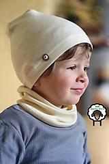 Detské čiapky - 100% merino Celoročný tenší set - vanilka natural - 10616531_