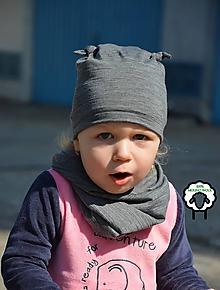 Detské čiapky - 100% merino Celoročný tenký set Sivá (thermo)s uzlíkmi - 10616520_
