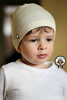 Detské čiapky - 100% merino Celoročná tenšia čiapka -vanilka natural - 10616541_