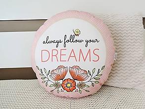 Úžitkový textil - Vankúšik - follow your DREAMS - 10616868_