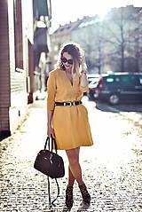Šaty - Žlté úpletové šaty - 10617858_