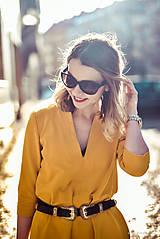 Šaty - Žlté úpletové šaty - 10617860_