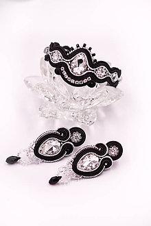 Sady šperkov - Elegantný čierno-strieborný soutache set - 10618183_