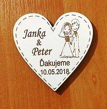Darčeky pre svadobčanov - SVADOBNÉ DEKORÁCIE- magnetka č.3- biela - 10618113_
