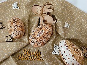 Dekorácie - Husacia madeirova kraslica v hnedo-bielej farbe - 10618714_