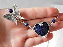 Náhrdelníky - Srdce avanturínu z kolekcie Butterfly,tiffany - 10618796_
