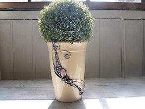 Dekorácie - Kvetináč s ruženínom - 10620409_