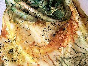 Šatky - Pampelišky /hedvábný šátek 55 x 55 cm/ - 10621920_