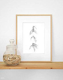 """Kresby - Obrázok """"3 snežienky"""" print A4 - 10620319_"""