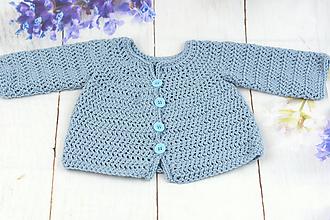 Detské oblečenie - Modrý svetrík pre novorodenca EXTRA FINE - 10620550_