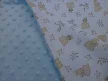 Textil - Bledomodrá minky s macíkmi... - 10621468_