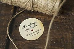 Papiernictvo - Okrúhla etiketa na svadobnú výslužku (4cm) - 10620663_