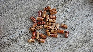 Korálky - Drevené korálky valček etno maľované, 50 ks - 10619671_