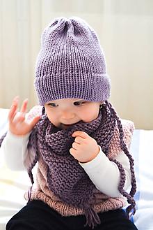 Detské čiapky - .MiNi detská čiapka.100% Merino.tmavá fialová pastelová - 10618815_