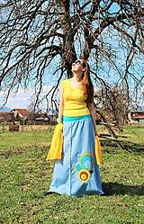 Sukne - Maxi modro-žltá SKLADOM - 10621401_