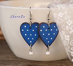 Náušnice - Heart dots // Blue - 10622168_