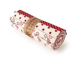 Textil - Bavlnené látky - rolka Red & Cream - 10619955_