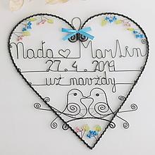 Dekorácie - veľké rozkvitnuté srdce - svadobné 30cm (už navždy) - 10624895_