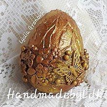 Dekorácie - Vajíčko s 3D efektom - Medeno zlaté, motýľ - 10625098_
