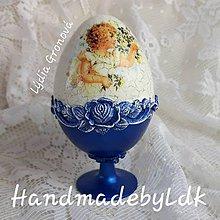 Dekorácie - Vajíčko so stojanom - Vintage modré - 10625128_