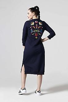 Šaty - Teplákové šaty modré s výšivkou - 10622662_