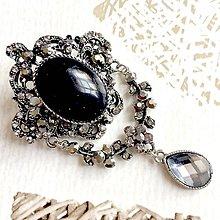 Odznaky/Brošne - Filigree Lapis Lazuli Brooch / Filigránová brošňa s lazuritom v starostriebornom prevedení #2080 - 10623862_