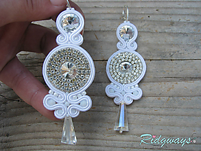 Náušnice - White/Crystal...soutache - 10623681_