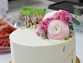 Dekorácie - Zápich na tortu Mr♥Mrs - 10623233_