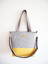 Veľké tašky - Veľká taška - minimal sivobiela s pastelovožltou - 10624116_