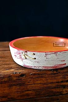 Nádoby - Buková miska bielo-červená prešívaná Ø17,5/4,5 - 10624285_