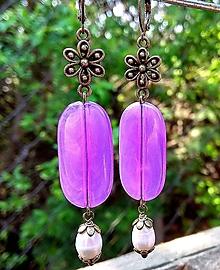 Náušnice - Antique náušnice s fialovými korálkami a riečnymi perlami - 10625439_