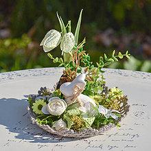 Dekorácie - Jarná dekorácia so zajačikom - 10625556_