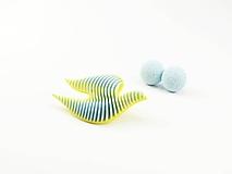 Sady šperkov - Set bobule a holubica sulfur yellow/baby blue - 10624457_