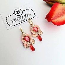 Náušnice - Ručne šité šujtášové náušnice / Soutache earrings - Swarovski®️crystals (Lana - neon lososová - mini) - 10623355_