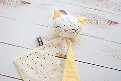 Hračky - Mojkáčik mačička smotanovo-žltá (Mačička s výšivkou mena) - 10622960_