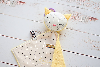 Hračky - Mojkáčik mačička smotanovo-žltá - 10622960_