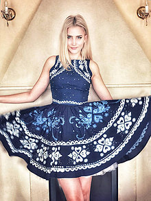 Šaty - Kolekcia Inšpirácie - modrotlač - 10624100_