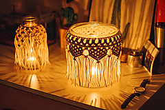 Svietidlá a sviečky - macrame svietnik veľký - 10625154_