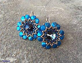 Náušnice - Modré kvetinkové náušnice - 10625060_