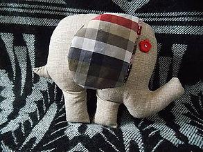 Hračky - Sloník hnedý -  kárované ušká - 10624482_