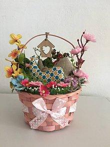 Dekorácie - Košíček so šitými vtáčikmi (Hnedá) - 10624545_
