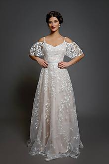 Šaty - Svadobné šaty na ramienka z tylovej lístočkavej krajky - 10624003_