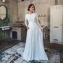 Šaty - Svadobné šaty z hrubej krajky v boho štýle s dlhým rukávom a holým chrbátom - 10625247_