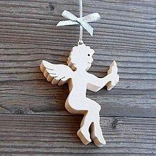 Dekorácie - Drevený Anjel so sviečkou - 10623766_