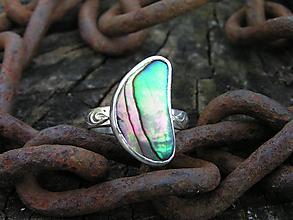 Prstene - Strieborny prsteň Ag925 Paua mušľa - 10622749_